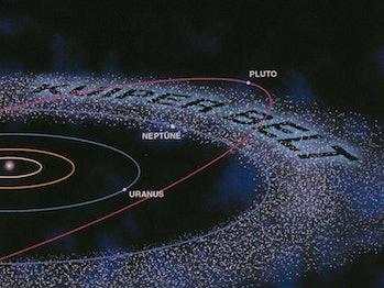 Ilustración de Kuiper Bel con la órbita de Plutón