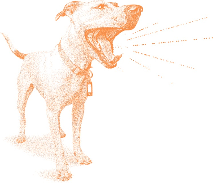 Dog barking illustration.