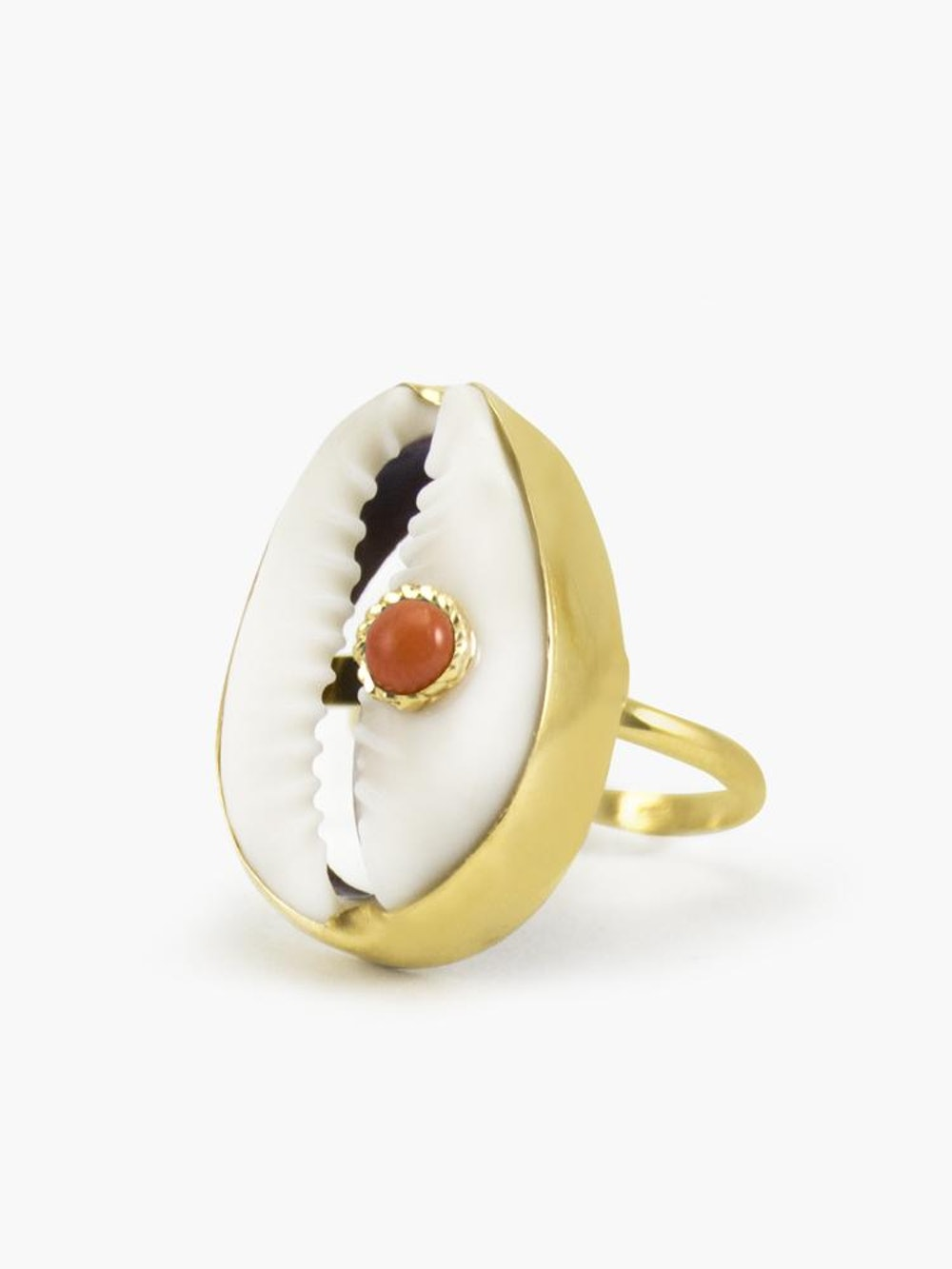 Coral & Cowrie Shell Ring