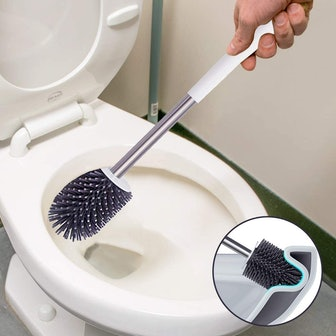 BOOMJOY Silicone Toilet Brush with Holder