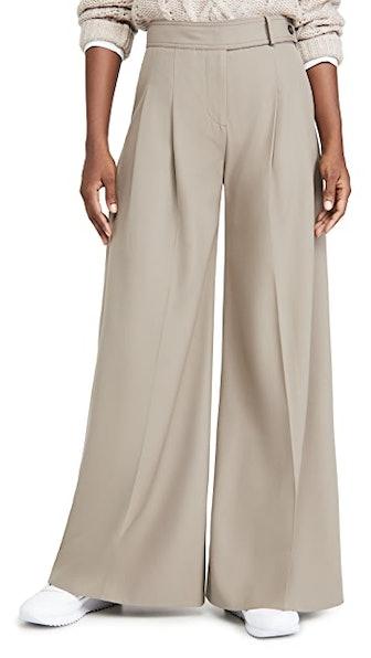 Victoria Beckham Wide Leg Wool Gaberdine Trousers