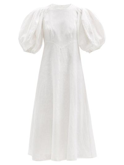 Puffed-Sleeve Linen Midi Dress