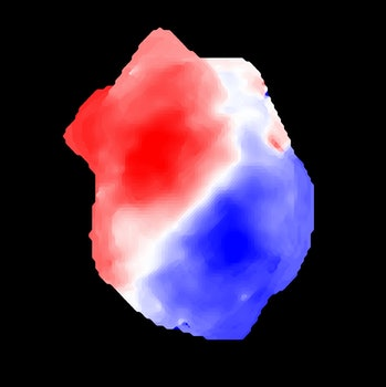 Gas motion in the distant galaxy ALESS 073.1: gas in blue is moving towards us while gas in red is m...