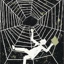 businessman falling spider web