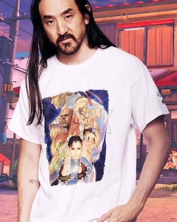 Street Fighter-themed t-shirt worn by DJ Steve Aoki.