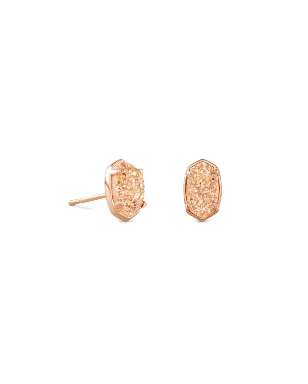 Emilie Rose Gold Stud Earrings In Sand Drusy