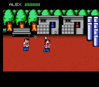 A fight between two characters throwing weapons against a red backdrop and two bathrooms in River City Ransom