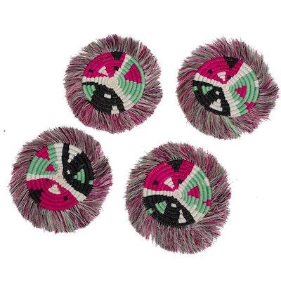 Pink Fringe Coasters