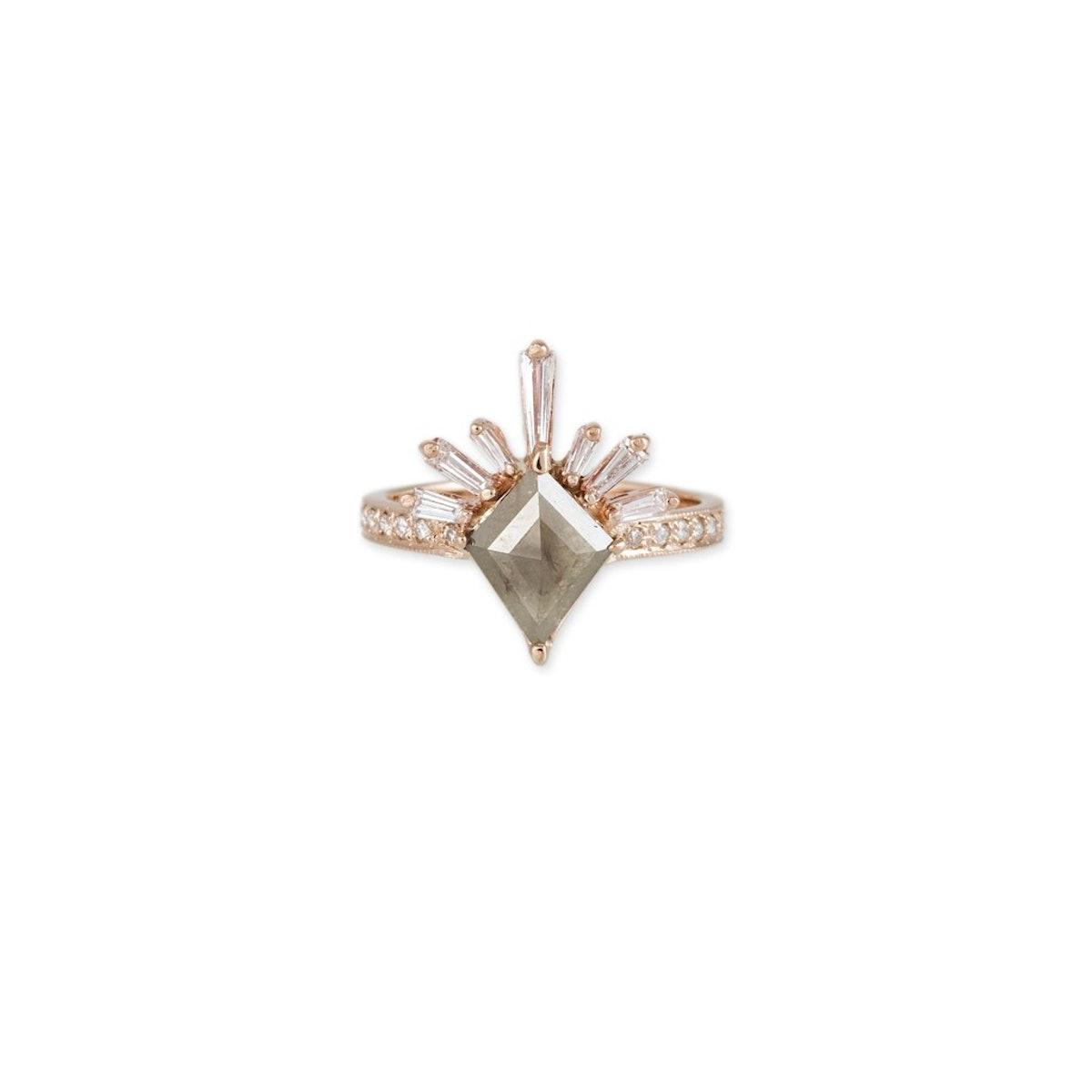 Kite Brown Raw Diamond Baguette Diamond Lash Ring