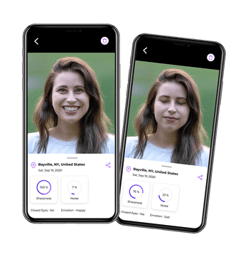 Two photos are shown in which a woman is seen. In the left photo, the woman is beaming. In the right photo, her eyes are closed. The AI Photo Culling app then gives a score of which photo is better.