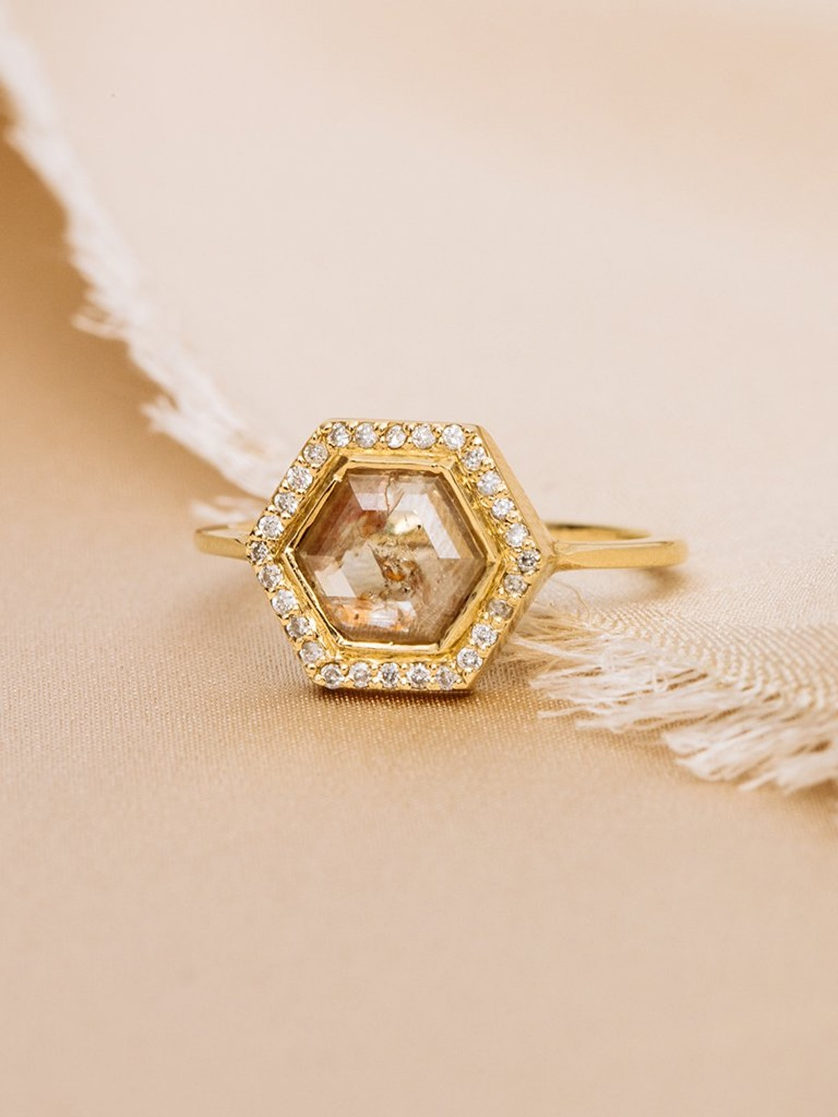 The Diamond Slice Ring With Halo Plain Band