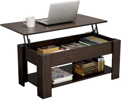 YAHEETECH Coffee Table With Hidden Compartment and Storage Shelf