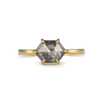 Hexagon Grey Diamond 18ct Gold Ring