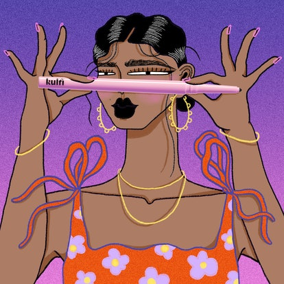 Drawing of a Brown skin model holding a Kulfi eyeliner