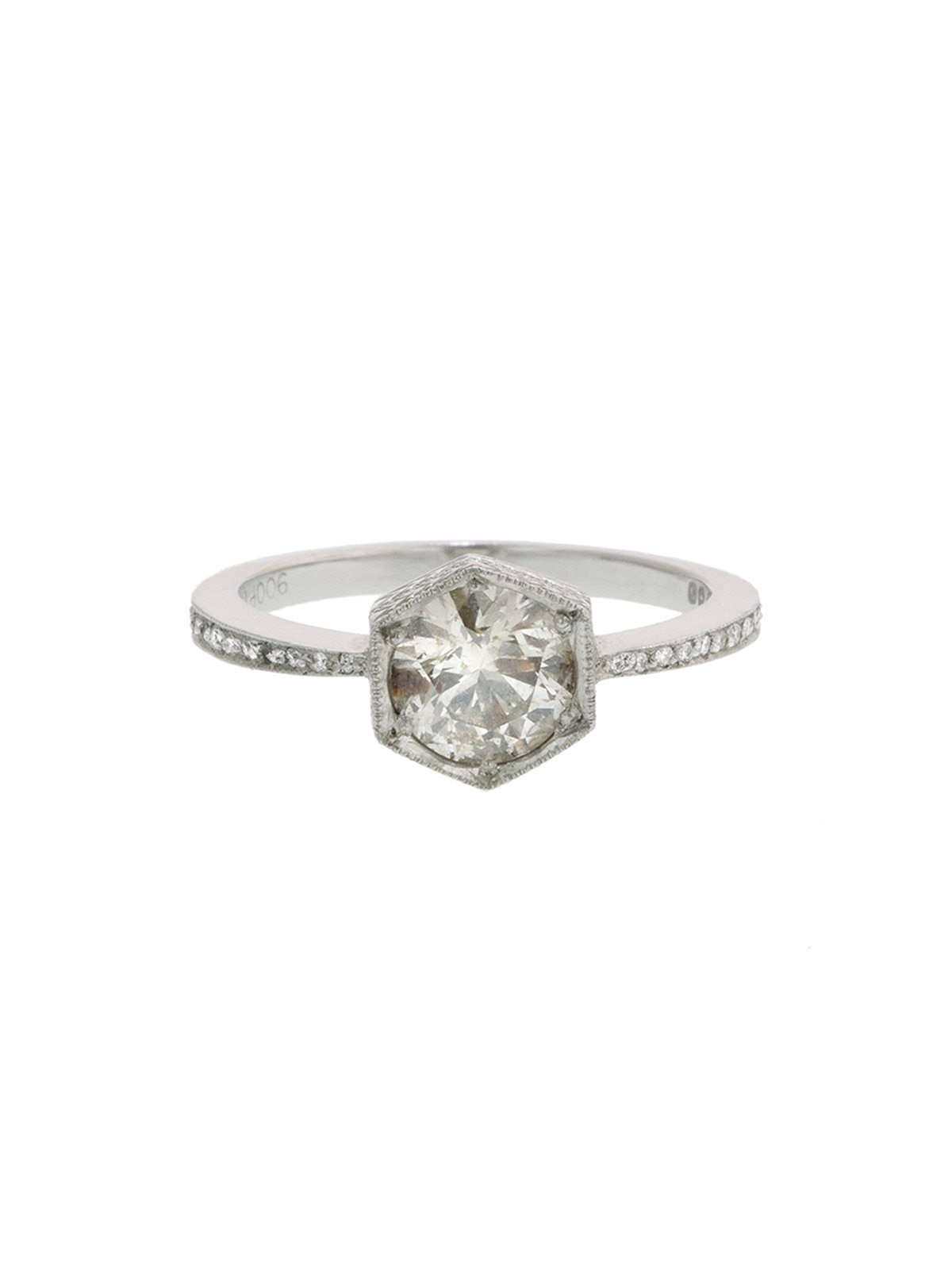Black and White Diamond Hexagonal Bezel Platinum Ring