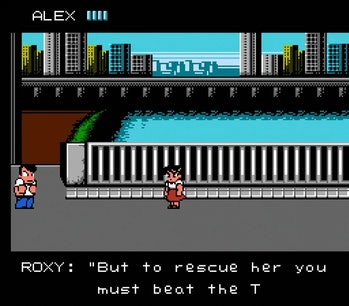 """The player and a female character named Roxy standing on a bridge with a city backdrop, with Roxy saying """"ROXY: """"But to rescue her you must the T"""""""