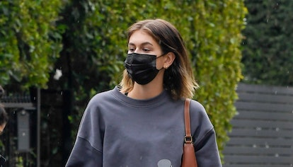 Kaia Gerber leaves a pilates class on January 23, 2021 in Los Angeles, California.