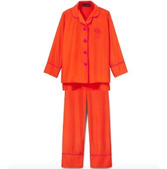 Coral Silk Trimmed Pajama Set
