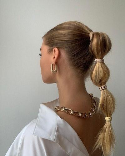 Bubble braid ponytail.
