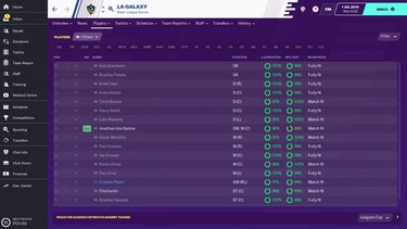 A screenshot of the LA Galaxy stats from 'Football Manager'