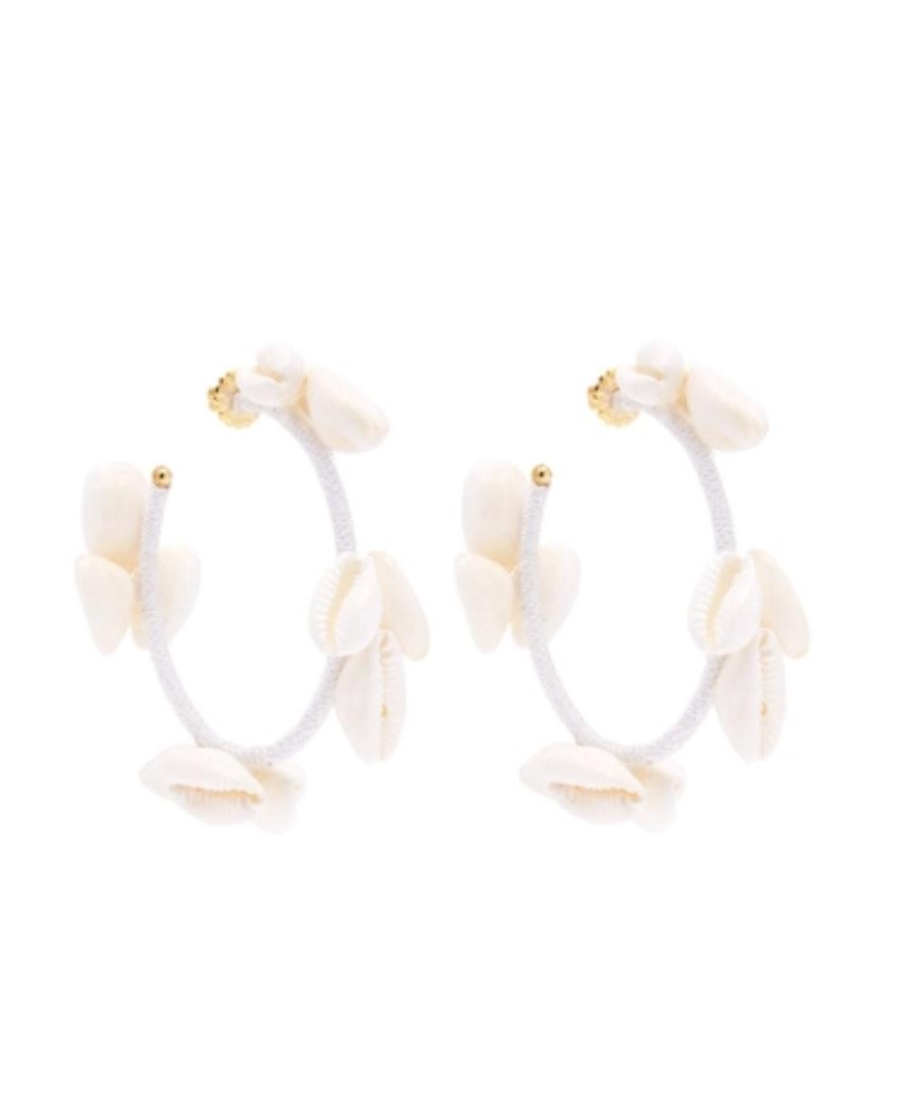 Olympia Shell-embellished Hoop Earring