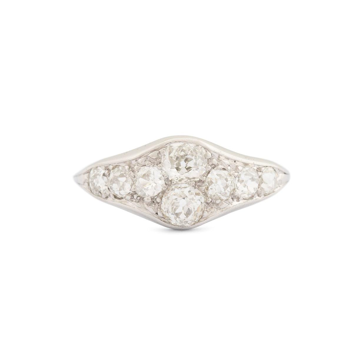 Art Deco Old Mine Cut Diamond And Platinum Ring