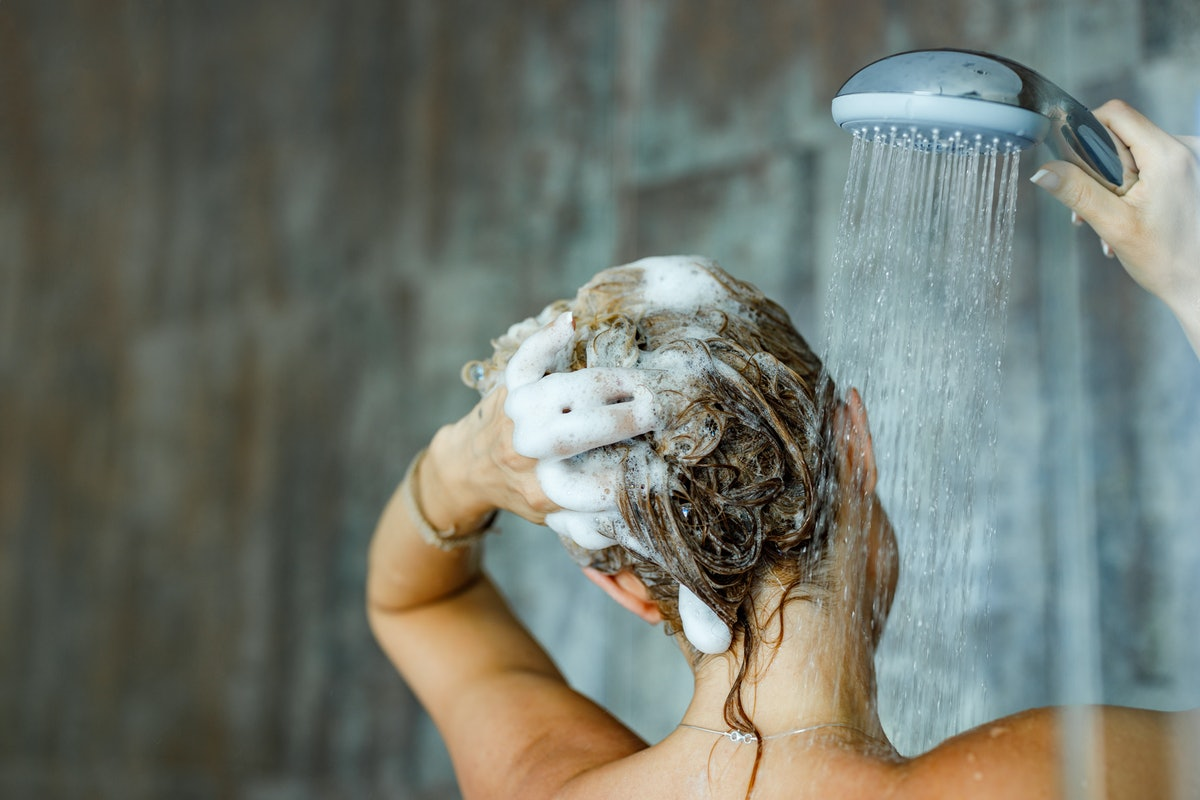 Woman washing her hair.