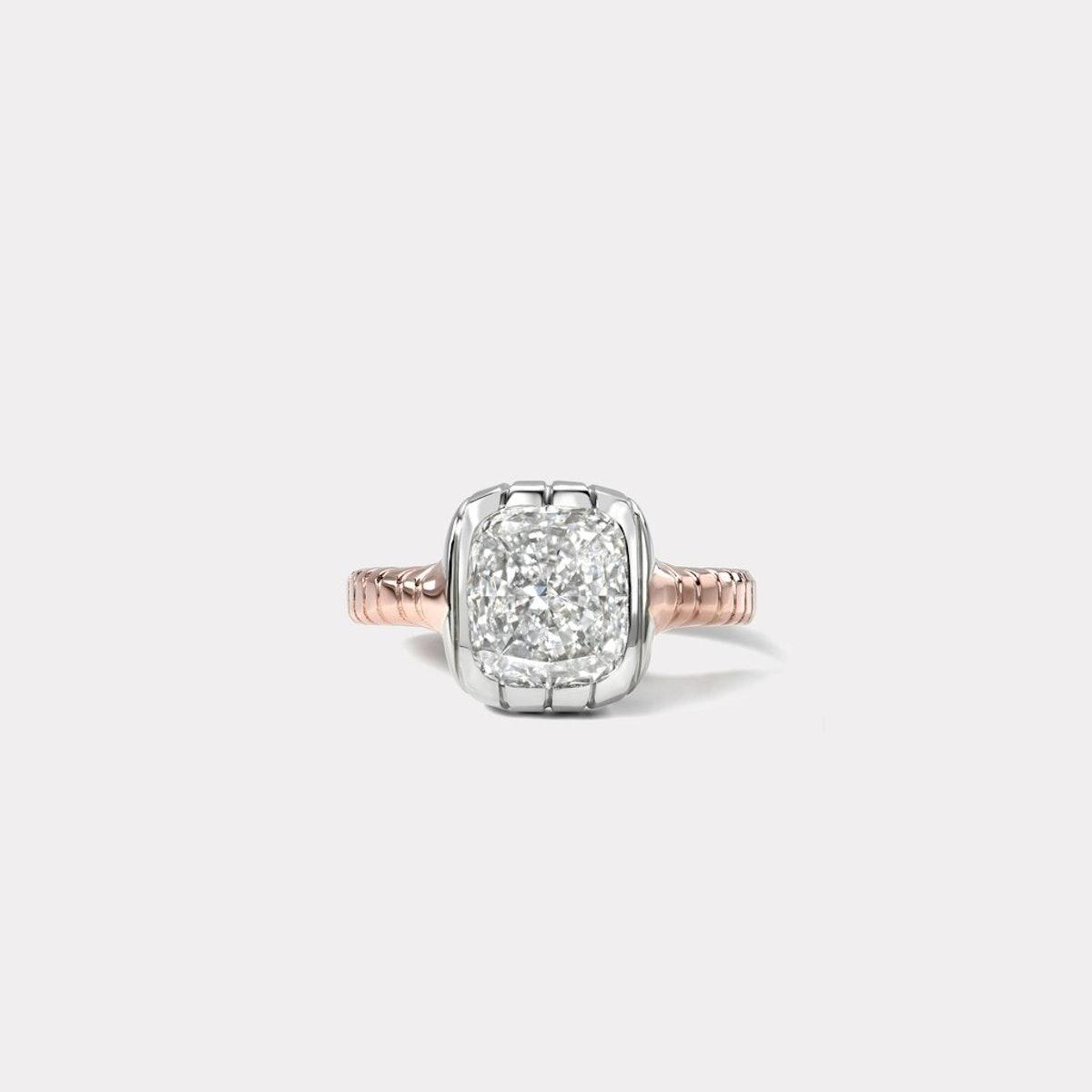 One Of A Kind Diamond Cushion Cut Heirloom Bezel Ring
