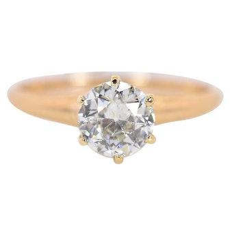 0.80 Carat Old European Cut Diamond Gold Ring