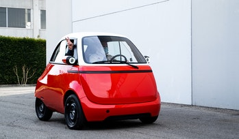The Microlino 2.0 electric microcar, modeled after the BMW Isetta.