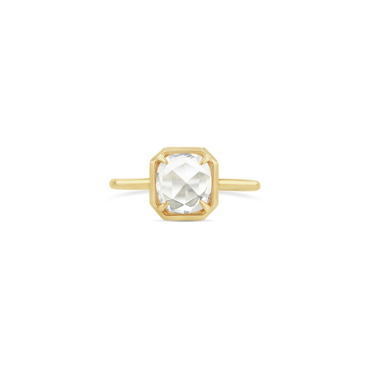 Oval Rose-Cut Diamond Octagonal Bezel Ring