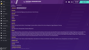 A screenshot of the credits from 'Football Manager'
