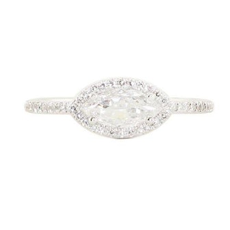 14kt White Gold Rose Cut Marquise Diamond Ring