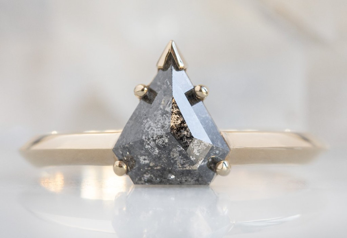 The Sage Ring With A Salt & Pepper Shield Diamond