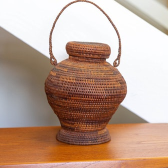 Lidded Woven Basket with Handle