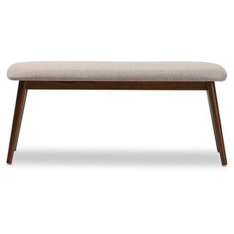 Flora Mid-Century Modern Light Gray Fabric & Oak Medium Brown Finishing Wood Dining Bench