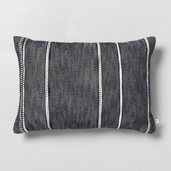 "14"" x 20"" Stripe Pattern Throw Pillow Railroad Gray"
