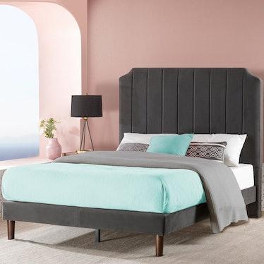 Priage Slate Black Upholstered Platform Bed Frame - Full