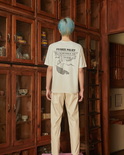 Model appears in Private Policy clothing for Private Policy's Fall/Winter 2021 collection.