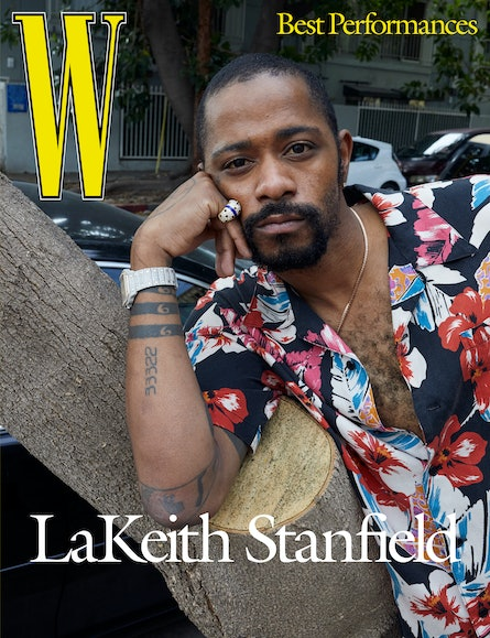Stanfield wears a Saint Laurent by Anthony Vaccarello shirt; Cartier ring and his own Cartier watch; his own earring and necklace.
