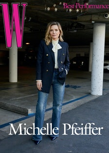 Pfeiffer wears a Saint Laurent by Anthony Vaccarello blazer and blouse; Celine by Hedi Slimane jeans...