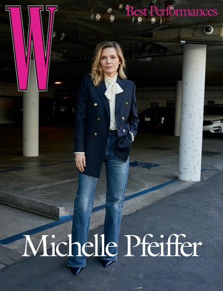 Pfeiffer wears a Saint Laurent by Anthony Vaccarello blazer and blouse; Celine by Hedi Slimane jeans; Cartier earrings; Jimmy Choo shoes.
