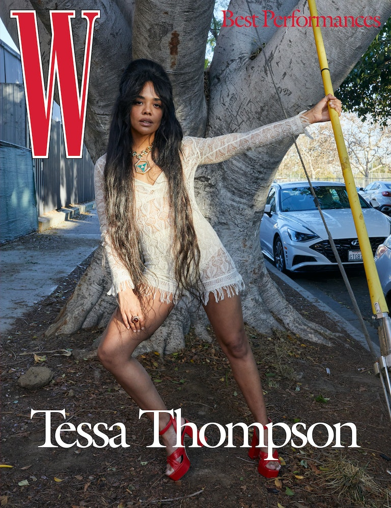 Thompson wears a Dior romper, bralette, and briefs; Cartier necklace and ring; Giuseppe Zanotti shoes.