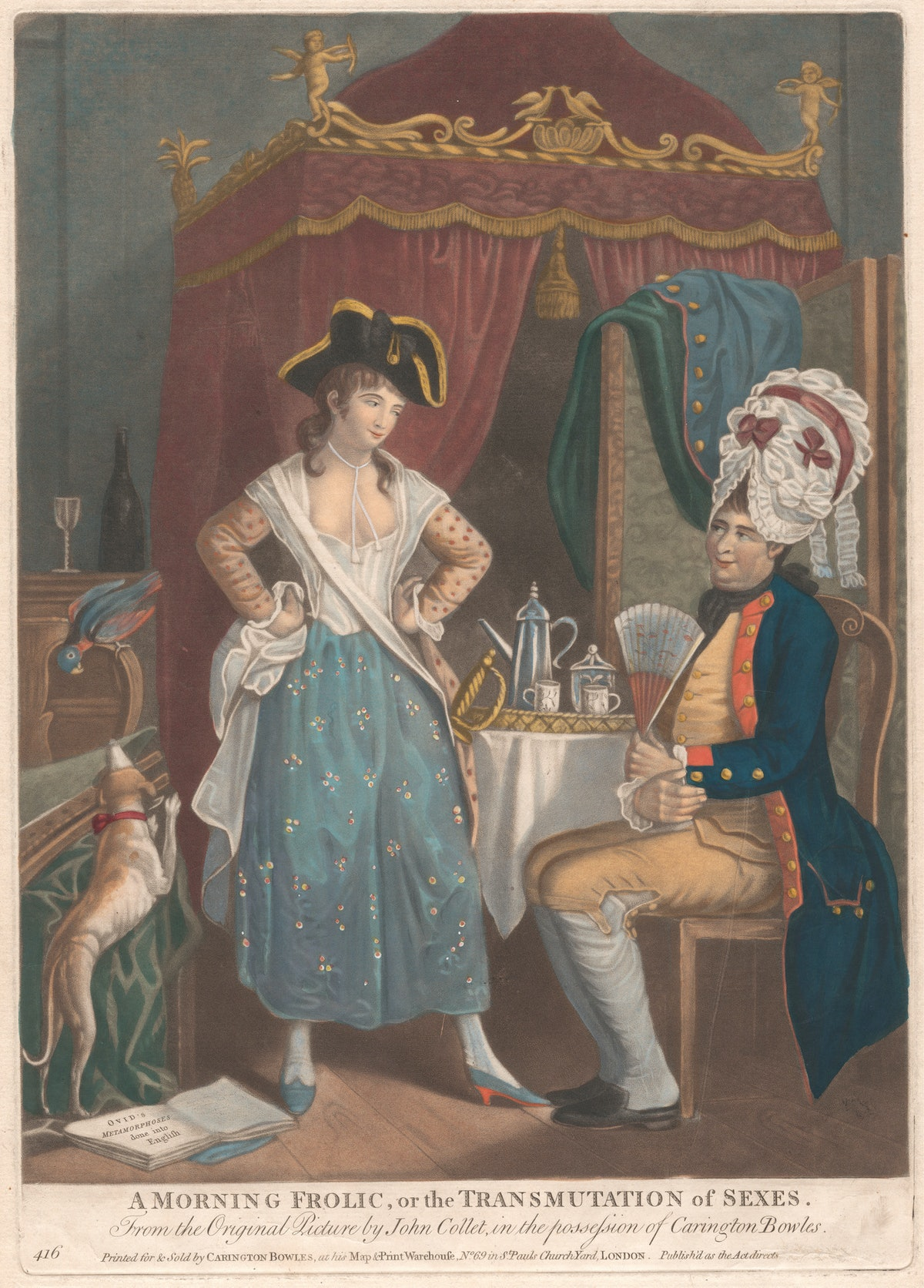 An 18th century image of a man in drag.