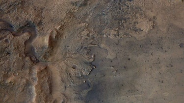 An overhead image of the Jezero Crater on Mars.