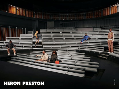 Models appear in Heron Preston Spring/Summer 2021 campaign.