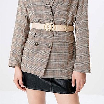 Earnda Soft Faux Leather Circle Belt