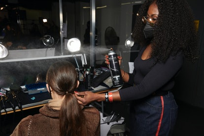 Lacy Redway creating the Jason Wu Fall/Winter 2021 show hair