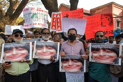 Protestors campaign for the immediate release of Disha Ravi in India
