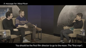 """Yusaku Maezawa, Ryan Gosling, and Damien Chazelle in conversation. Maezawa says """"you should be the first director to go to the Moon. The First Man."""""""